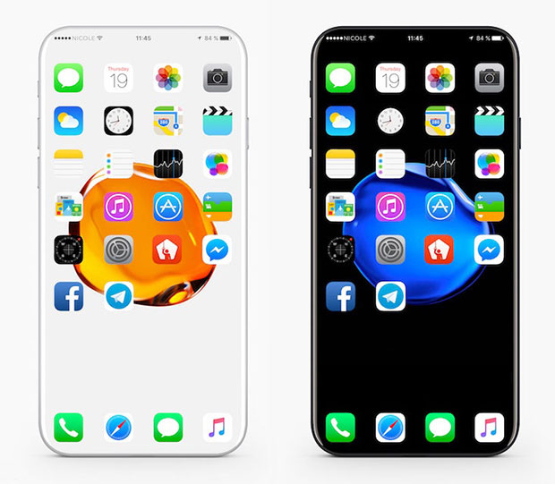 Дизайнеры представили концепт-кар iPhone 8 cбезрамочным OLED-дисплеем