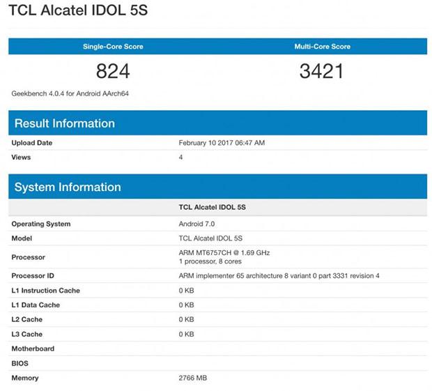Неанонсированный Alcatel Idol 5S прошел тест Geekbench