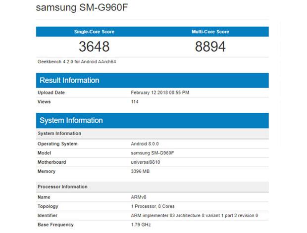 Samsung Galaxy S9 на чипе Exynos 9810 бьет рекорды Geekbench