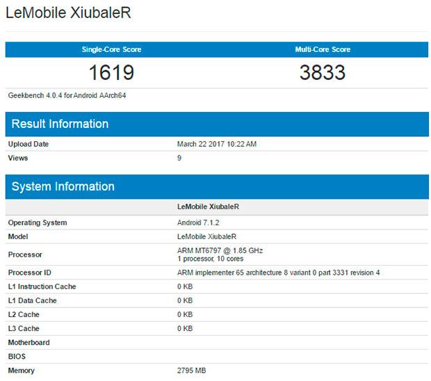 Тайный смартфон LeEco на андроид 7.1.2 побывал вGeekbench