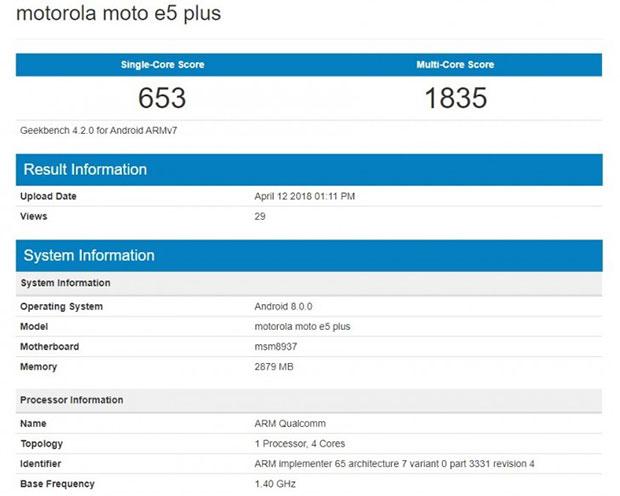 Смартфон Moto G6 Plus замечен в тесте GeekBench