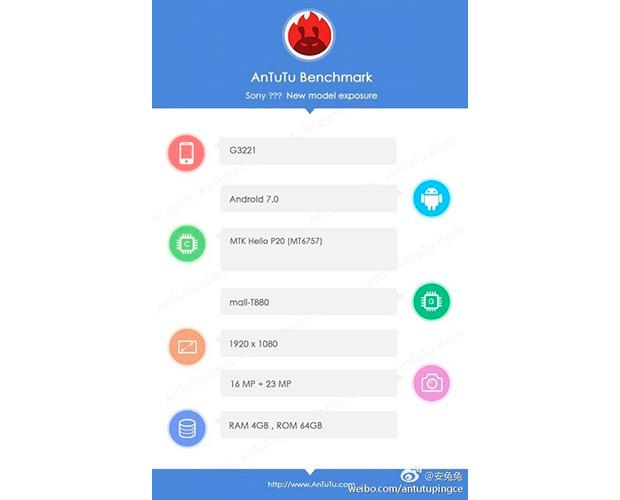 Смартфон Сони G3221 получит процессор MediaTek Helio P20 и23 МПкамеру