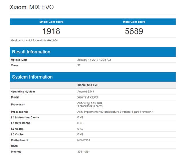 Возникла информация про новый флагман Xiaomi Mix Evo