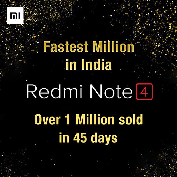 Xiaomi похвасталась реализацией  1 млн Redmi Note 4 вИндии