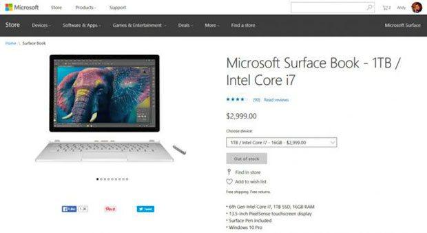 Топовый Microsoft Surface Book появился впродаже