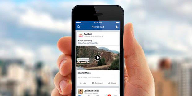 Видео вленте мобильного приложения фейсбук будет запускаться созвуком