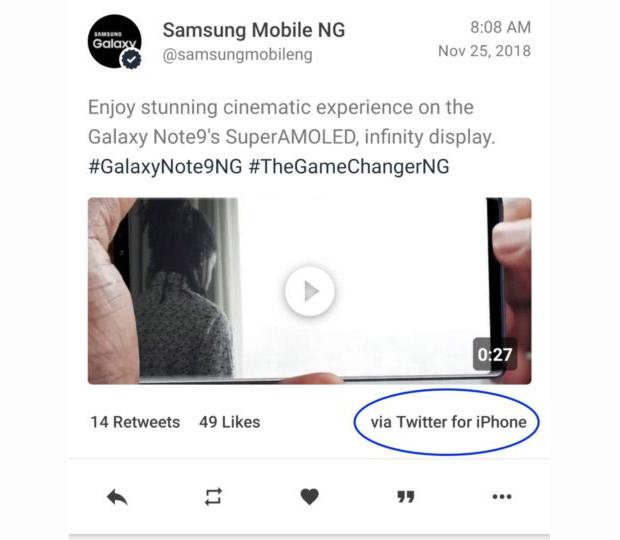 Самсунг  продвигала Galaxy Note 9 в социальных сетях  через iPhone