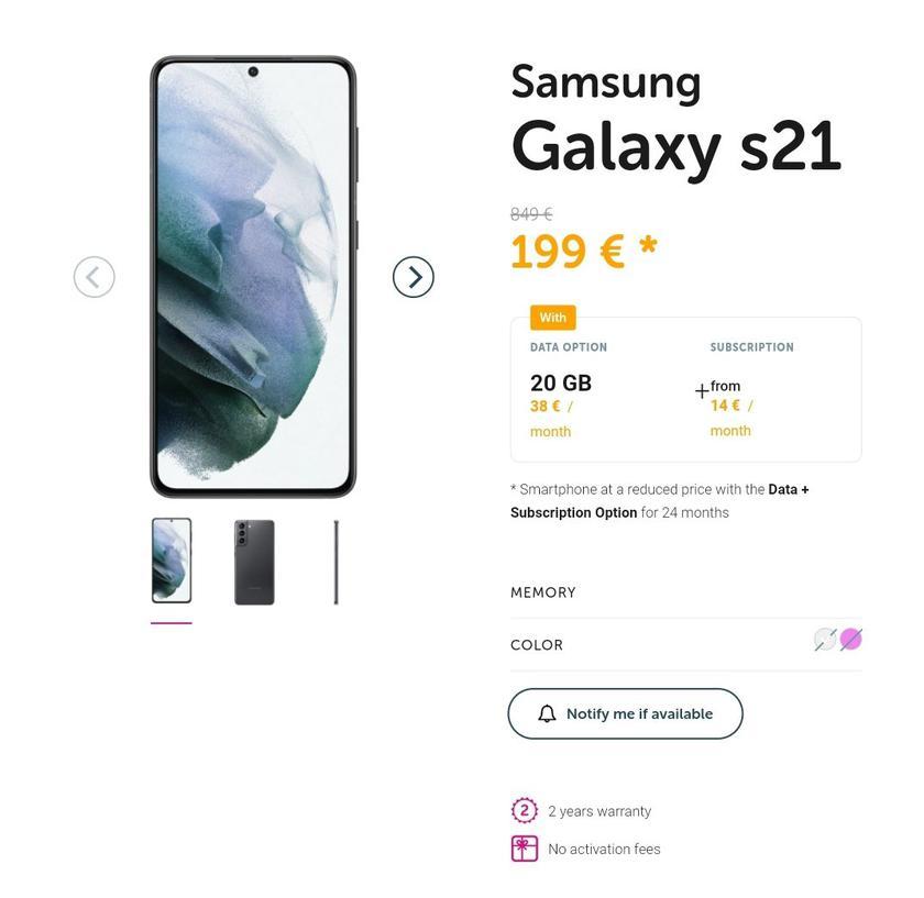 Случайно слиты цены смартфонов серии Samsung Galaxy S21