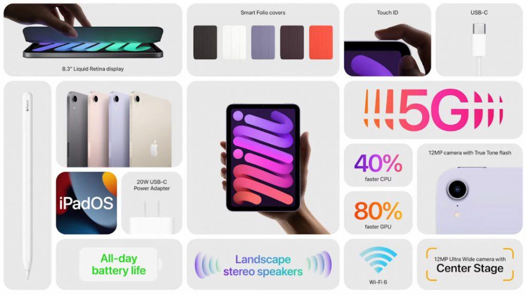 Представлен новый iPad mini с поддержкой 5G, портом USB-C и большим 8,3-дюймовым дисплеем
