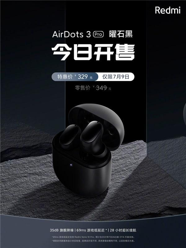 Беспроводные наушники Redmi AirDots 3 Pro в цвете Obsidian Black поступили в продажу