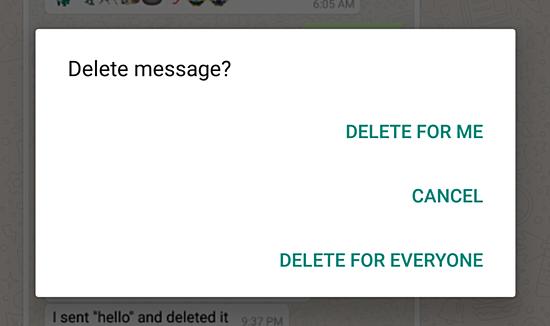 WhatsApp запустил функцию удаления отправленных сообщений счужих устройств
