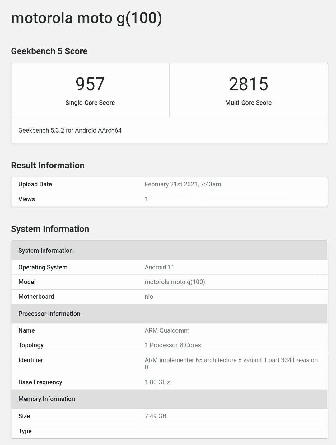 Moto G100 с чипом Snapdragon 870 появился в Geekbench