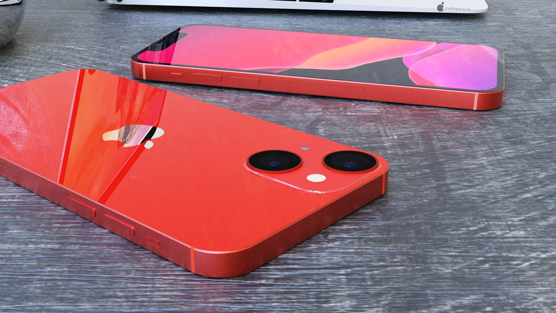 Показан смартфон iPhone 13 mini с диагональным размещением датчиков камеры