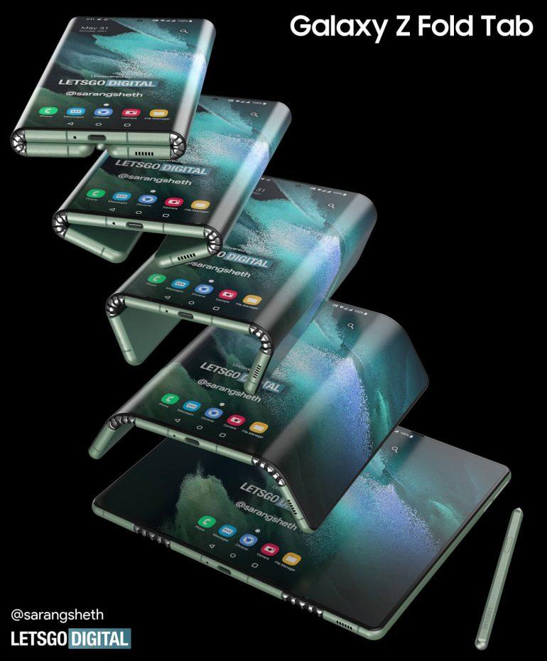 Опубликованы рендеры планшета Samsung Galaxy Z Fold Tab, складывающегося в двух местах