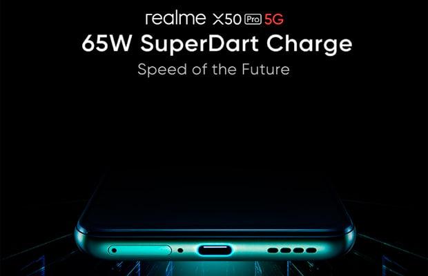 Realme X50 Pro 5G получит быструю проводную зарядку SuperDart мощность